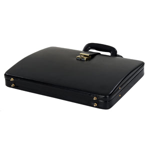 Hard Craft Vegan Leather Briefcase Attache Combination Lock Ultra Slim - Black