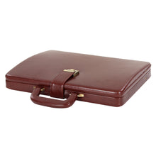 Load image into Gallery viewer, Hard Craft Vegan Leather Briefcase Attache Combination Lock Ultra Slim - Maroon