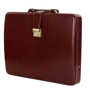 Hard Craft Vegan Leather Briefcase Attache Combination Lock Ultra Slim - Maroon