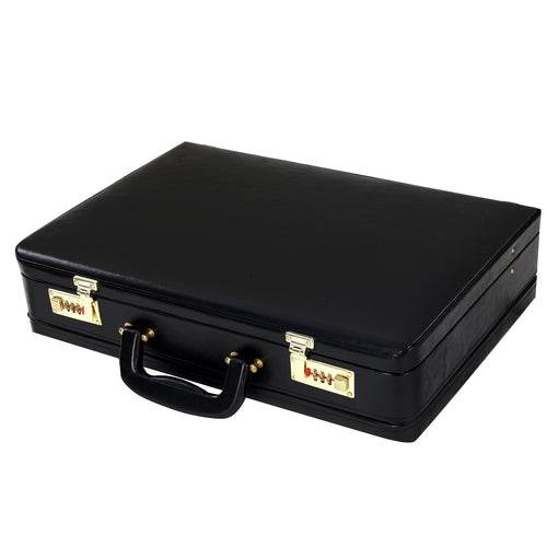 Hard Craft Vegan Leather Expandable Briefcase Attache Golden Combination - Black