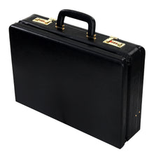 Load image into Gallery viewer, Hard Craft Vegan Leather Expandable Briefcase Attache Golden Combination - Black