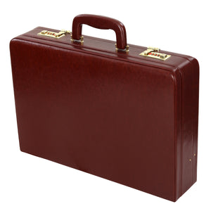 Hard Craft Vegan Leather Expandable Briefcase Attache Golden Combination - Maroon