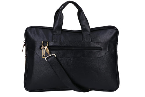 Hard Craft Vegan Leather Office Laptop Bag Briefcase - Black