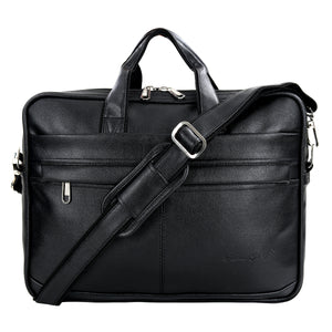 Hard Craft Vegan Executive Leather Office Laptop Bag Briefcase - Black