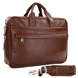 Hard Craft Vegan Executive Leather Office Laptop Bag Briefcase - Brown