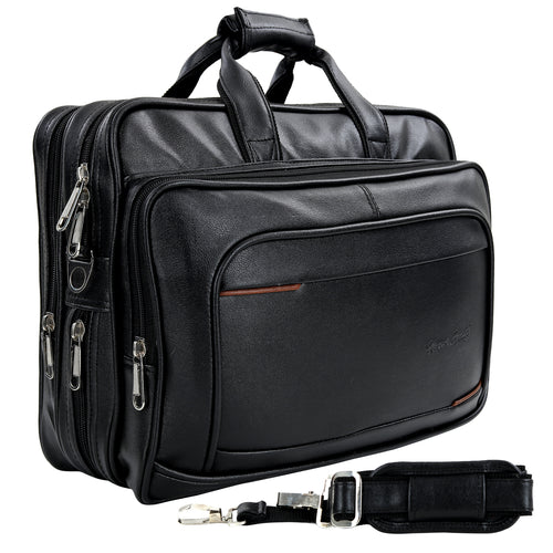 Hard Craft Vegan Executive Leather Office Laptop Bag Expandable Briefcase - Black