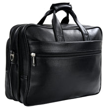 Load image into Gallery viewer, Hard Craft Vegan Executive Leather Office Laptop Bag Expandable Briefcase - Black