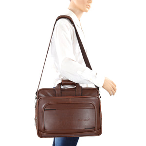 Hard Craft Vegan Executive Leather Office Laptop Bag Expandable Briefcase - Brown