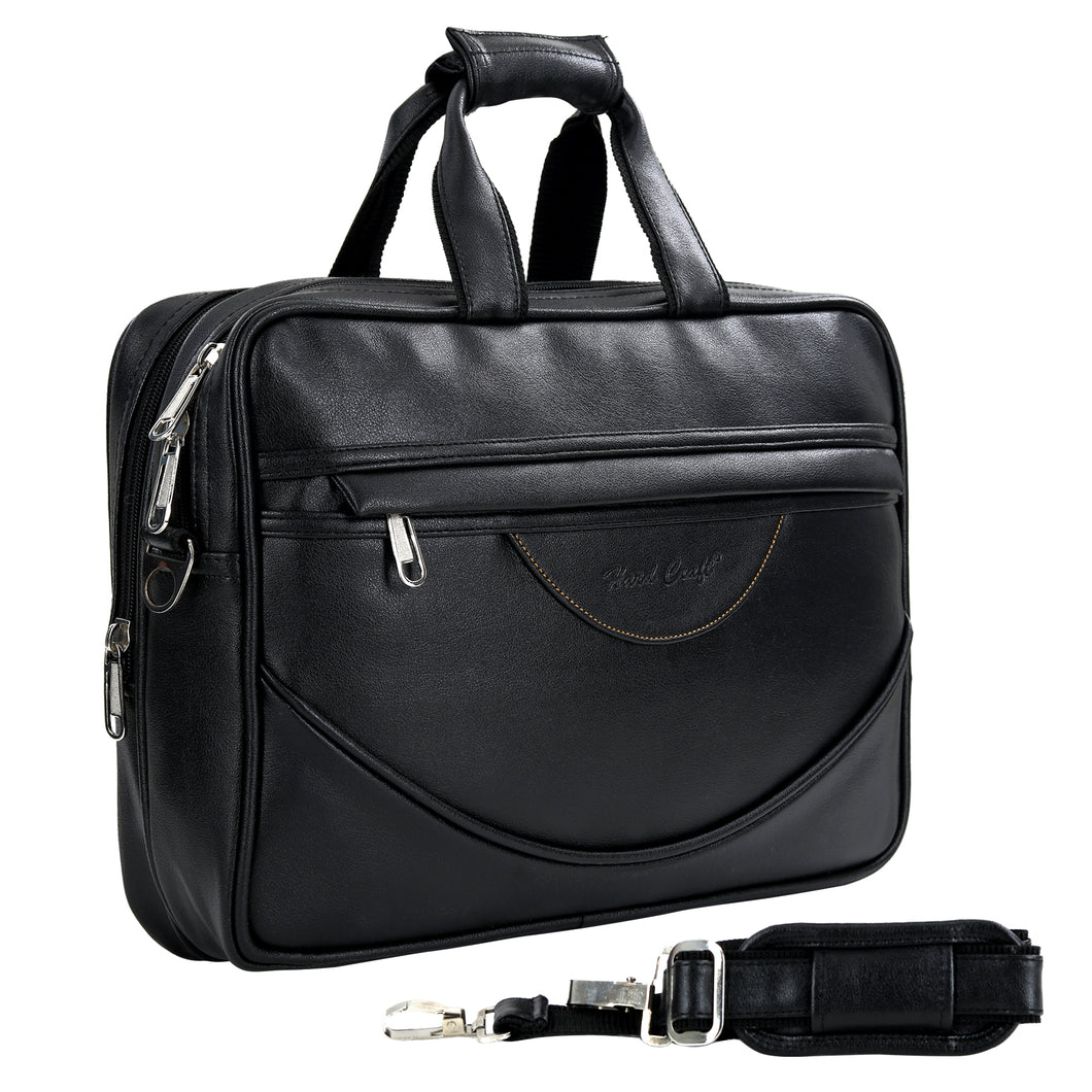Hard Craft Premium Leather Office Laptop Bag Briefcase - Black