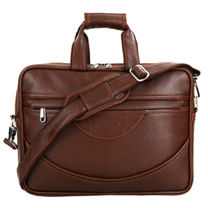 Hard Craft Premium Leather Office Laptop Bag Briefcase - Brown