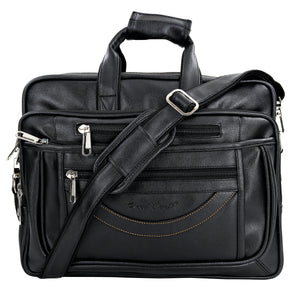 Hard Craft Premium Leather Office Laptop Bag Expandable Briefcase - Black
