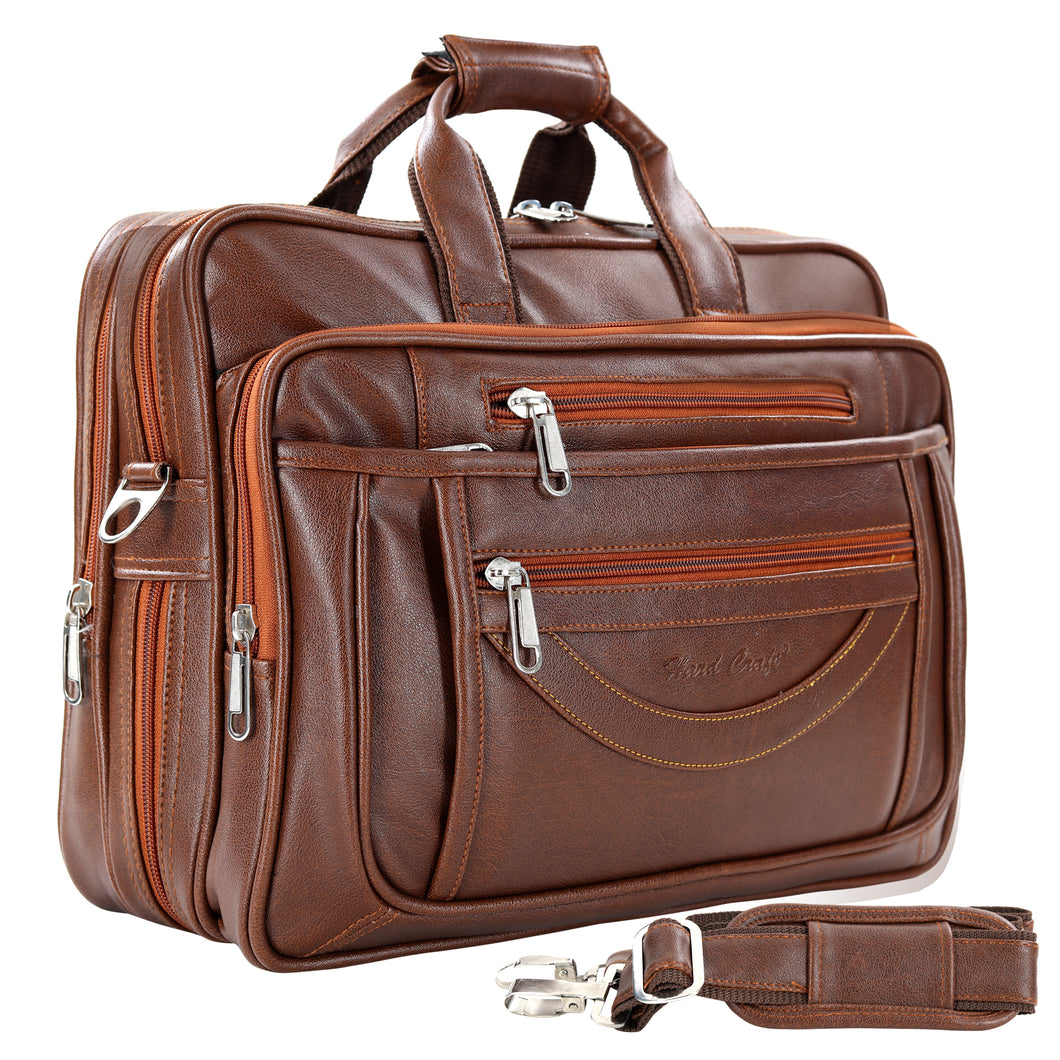 Hard Craft Premium Leather Office Laptop Bag Expandable Briefcase - Brown