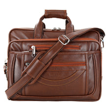 Load image into Gallery viewer, Hard Craft Premium Leather Office Laptop Bag Expandable Briefcase - Brown