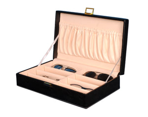 Hard Craft Sunglass Storage Organizer Vegan Leather for 8 sunglass slots - Black