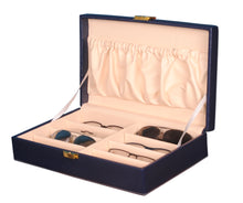Load image into Gallery viewer, Hard Craft Sunglass Storage Organizer Vegan Leather for 8 sunglass slots - Blue