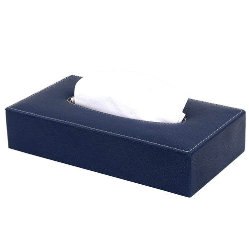 Hard Craft Leather Finish Tissue Box - Blue