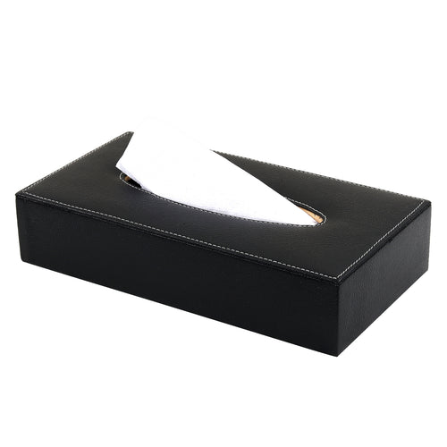 Hard Craft Leather Finish Tissue Box - Black