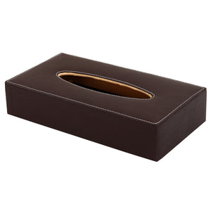 Hard Craft Leather Finish Tissue Box - Brown
