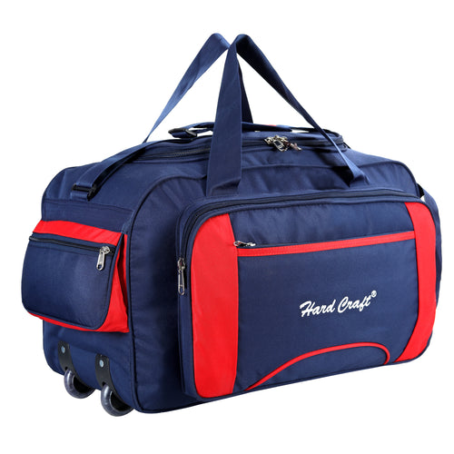Hard Craft Large Size Waterproof Luggage Travel Duffel Bag with Wheels - Blue Red