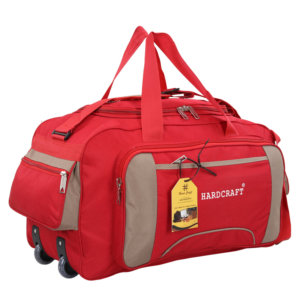 Hard Craft Large Size Waterproof Luggage Travel Duffel Bag with Wheels - Red Batch