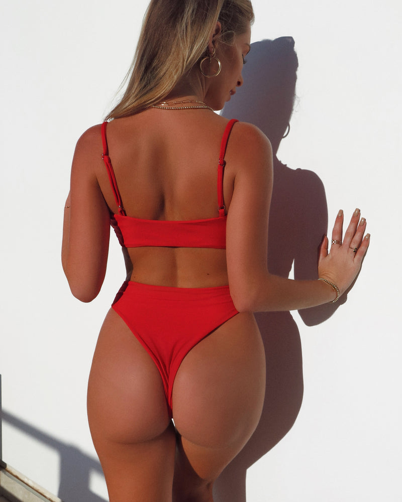 HIGH WAISTED BOTTOMS- Red