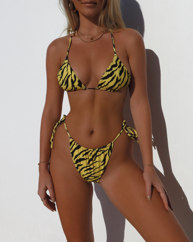 SCRUNCHED SIDE TIE BOTTOMS- Tiger
