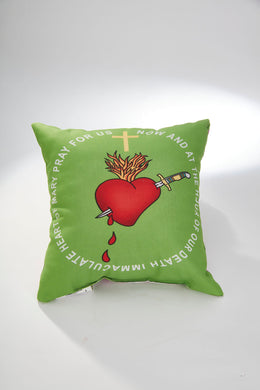 Immaculate Heart Hug Green Scapular Pillow 14 x 14 with green scapular as well
