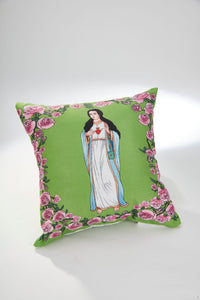 FOR THE IMMACULATE HEART TRIUMPH Immaculate Heart Hug Green Scapular Pillow 14 x 14 with green scapular as well