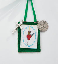 Load image into Gallery viewer, FOR THE IMMACULATE HEART TRIUMPH Immaculate Heart Hug Green Scapular Pillow 14 x 14 with green scapular as well