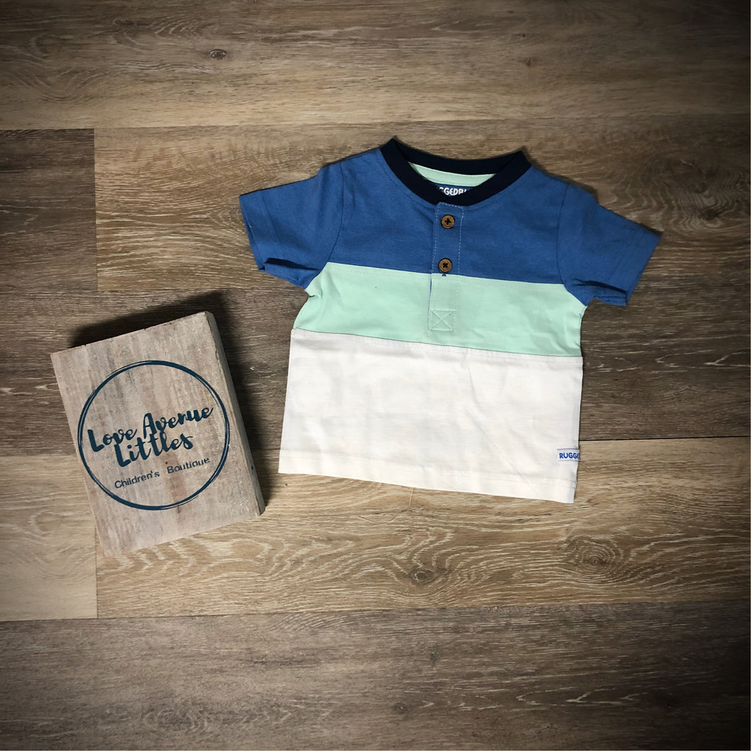 Blue & Neo Mint Color Block Henley