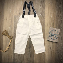 Load image into Gallery viewer, White Suspender Pants