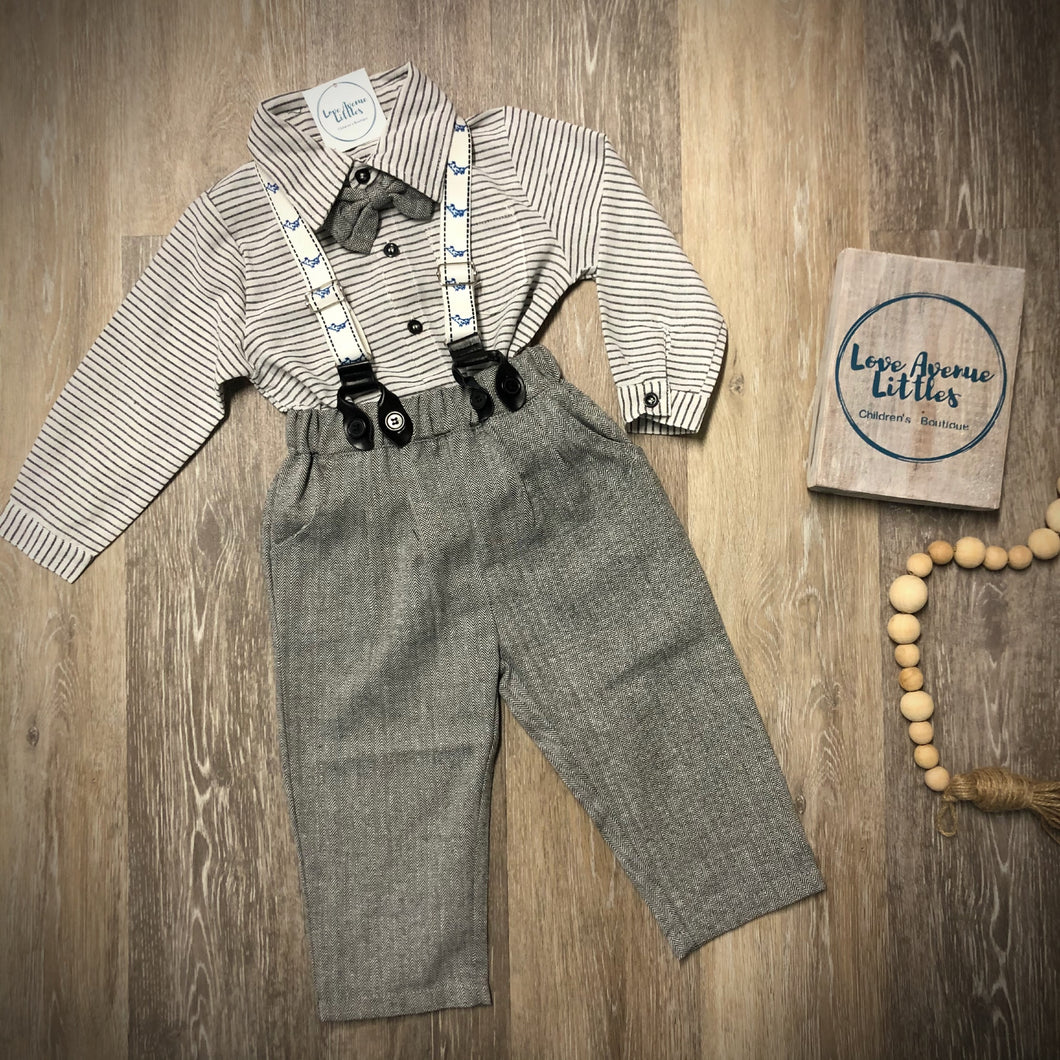 Grey Suspender Set
