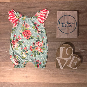 Striped Aqua Dot Romper