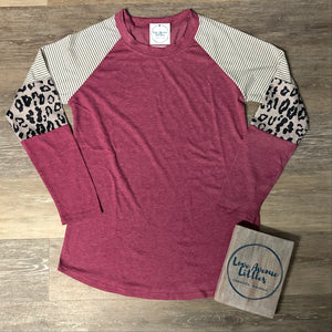 Women's Berry Leopard Long Sleeve Top