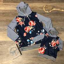 Load image into Gallery viewer, Navy Floral Hoodie- Daughter