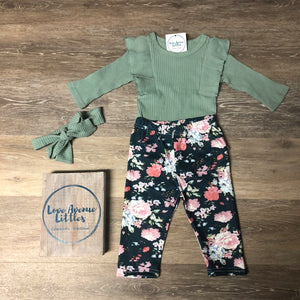 Mint Ruffle Sleeve Set