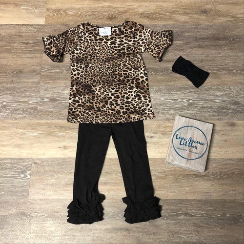 Leopard Ruffle Sleeve Top- Daughter