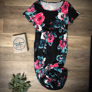 Black Floral Maxi Dress- Mommy