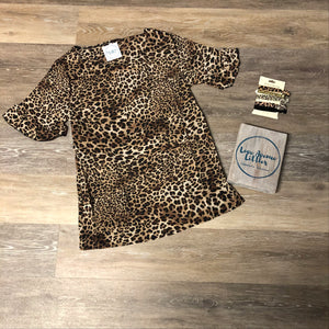 Leopard Ruffle Sleeve Top- Mommy