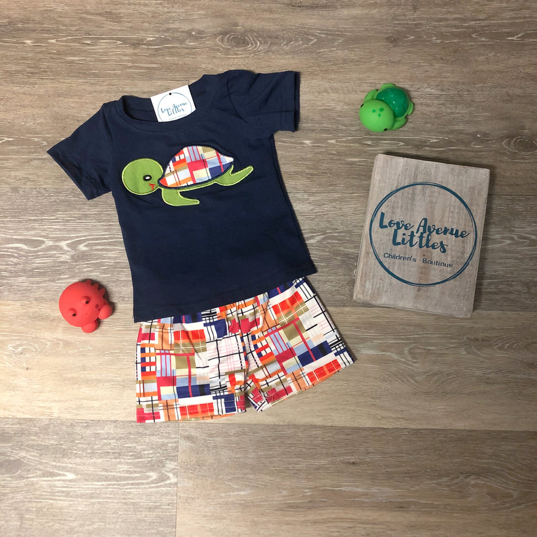 Plaid Turtle Short Set