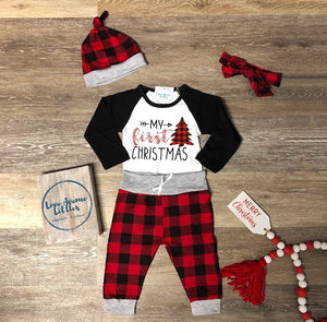 "Buffalo Plaid ""My First Christmas"" One Piece Set"