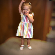 Load image into Gallery viewer, Rainbow Stripe Flutter Dress