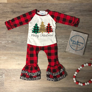 Buffalo Plaid Ruffle Christmas Tree Set