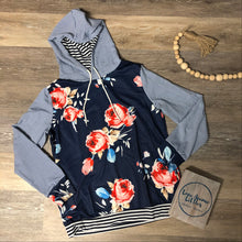 Load image into Gallery viewer, Navy Floral Hoodie- Mommy