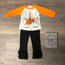Load image into Gallery viewer, Unicorn Pumpkin Ruffle Raglan