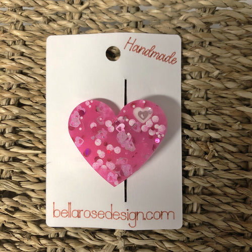 Bella Rose Clip - Chunky Heart Hot Pink