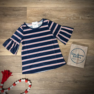 Flutter Sleeve Stripe Top- Mommy