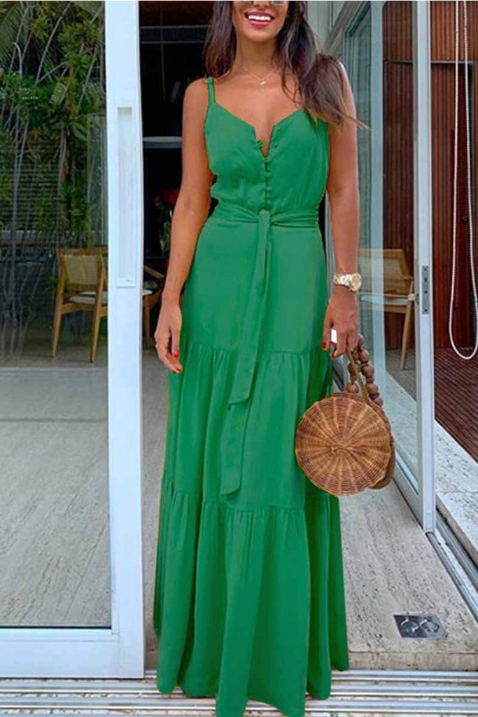 Chicindress Button V-Neck Maxi Dress With Belt
