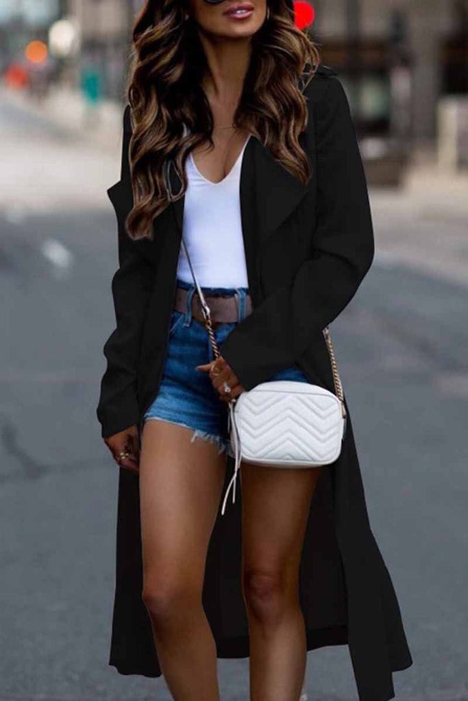Chicindress Long Sleeve Lapel Solid Trench Coat