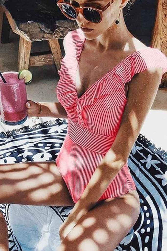 Chicindress Ruffled Striped One-Piece Swimsuit ( 3 Colors)
